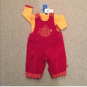 Clayeux Red & Yellow 2 PC Overalls Size 9M